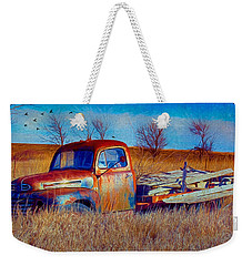 Old Ford F5 Truck Abandoned In Field Weekender Tote Bag