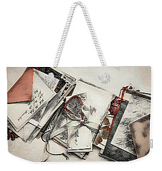Weekender Tote Bag featuring the digital art Old Forgotten Letters by Pennie McCracken