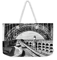 Old Fort Point Lighthouse Under The Golden Gate In Bw Weekender Tote Bag