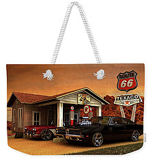 Weekender Tote Bag featuring the photograph Old Gas Station American Muscle by Louis Ferreira