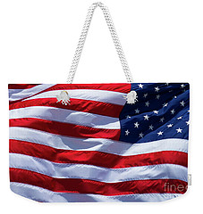 Weekender Tote Bag featuring the photograph Stitches Old Glory American Flag Art by Reid Callaway