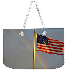 Old Glory And Rainbow Weekender Tote Bag