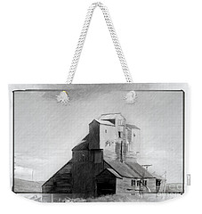 Weekender Tote Bag featuring the drawing Old Grain Elevator by Chris Armytage