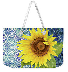 Weekender Tote Bag featuring the painting Old Havana Sunflower - Cobalt Blue Tile Painted Over Wood by Audrey Jeanne Roberts