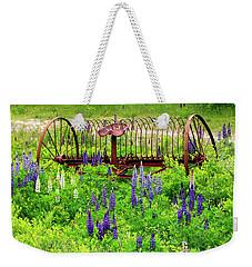 Old Hay Rake And Lupines Weekender Tote Bag
