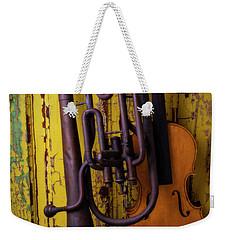Old Horn And Violin Weekender Tote Bag by Garry Gay