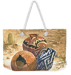Weekender Tote Bag featuring the painting Old Indian Pottery by Marilyn Smith