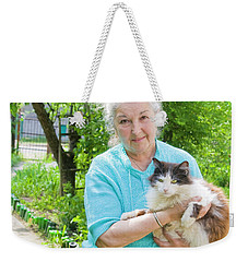 Old Lady With Cat Weekender Tote Bag