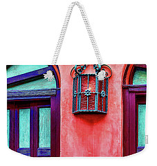 Weekender Tote Bag featuring the photograph Old Lamp Between Windows by Gary Slawsky