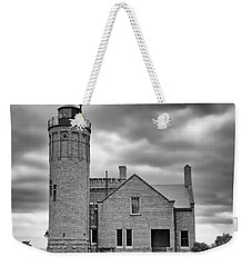 Old Mackinac Point Light Gray Day Bw Weekender Tote Bag by Mary Bedy