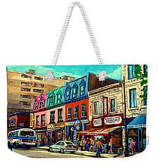 Old Montreal Schwartzs Deli Plateau Montreal City Scenes Weekender Tote Bag by Carole Spandau