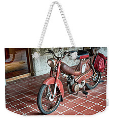 Weekender Tote Bag featuring the photograph Old Motorcycle In The Monastery Of Santo Estevo De Ribas Del Sil by Eduardo Jose Accorinti