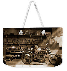 Old Motorcycle Shop Weekender Tote Bag