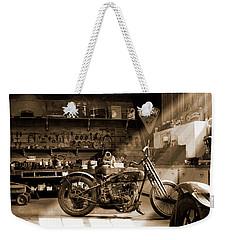 Old Motorcycle Shop Weekender Tote Bag
