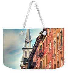 Weekender Tote Bag featuring the photograph Old North Church - Boston North End by Joann Vitali