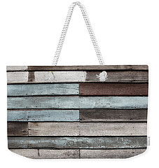 Weekender Tote Bag featuring the photograph Old Pale Wood Wall by Jingjits Photography