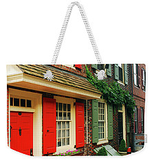 Weekender Tote Bag featuring the photograph Old Philly by James Kirkikis