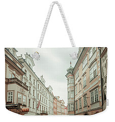 Weekender Tote Bag featuring the photograph Old Prague Buildings. Staromestska Square by Jenny Rainbow