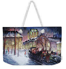 Weekender Tote Bag featuring the mixed media old Quebec by Peter Suhocke