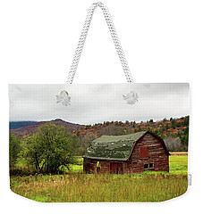 Weekender Tote Bag featuring the photograph Old Red Adirondack Barn by Nancy De Flon