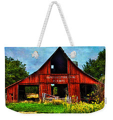 Old Red Barn And Wild Sunflowers Weekender Tote Bag