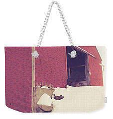 Weekender Tote Bag featuring the photograph Old Red Barn In Winter by Edward Fielding