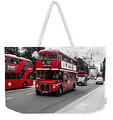 Old Red Bus Bw Weekender Tote Bag