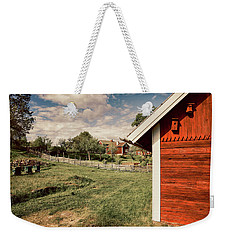 Old Red Farm Set In A Rural Nature Landscape Weekender Tote Bag by Christian Lagereek