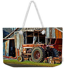 Old Red Tractor And The Barn Weekender Tote Bag