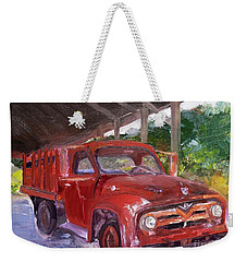 Weekender Tote Bag featuring the painting Old Red Truck - Mountain Valley Farms - Ellijay by Jan Dappen