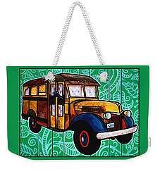 Old Rusted School Bus With Quilted Windows Weekender Tote Bag