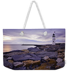 Old Scituate Light At Sunrise Weekender Tote Bag