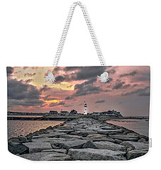 Old Scituate Light At The End Of The Jetty Weekender Tote Bag