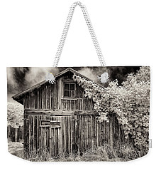 Weekender Tote Bag featuring the photograph Old Shed In Sepia by Greg Nyquist