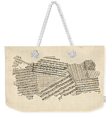 Old Sheet Music Map Of Turkey Map Weekender Tote Bag