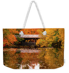 Weekender Tote Bag featuring the photograph Old Sturbridge Village Covered Bridge by Jeff Folger