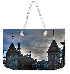 Weekender Tote Bag featuring the mixed media  Old Tallin Sureal by Yury Bashkin