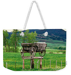 Old Time Freight Wagon In Montana Weekender Tote Bag by Wernher Krutein