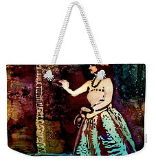 Weekender Tote Bag featuring the painting Old Time Hula Dancer by Marionette Taboniar
