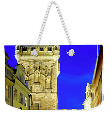 Weekender Tote Bag featuring the photograph Old Town Bridge Tower by Fabrizio Troiani