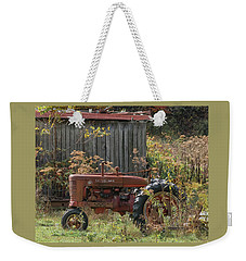 Old Tractor On The Farm. Weekender Tote Bag