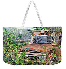 Weekender Tote Bag featuring the painting Old Truck Rusting by Marilyn  McNish