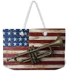 Old Trumpet On American Flag Weekender Tote Bag by Garry Gay