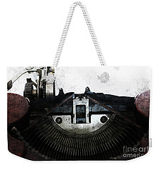 Old Typewriter Machine In Grunge Style Weekender Tote Bag by Michal Boubin