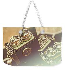 Old Vintage Faded Print Of Camera Equipment Weekender Tote Bag