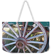 Weekender Tote Bag featuring the photograph Old Wagon Wheel by Dora Sofia Caputo Photographic Art and Design