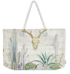 Weekender Tote Bag featuring the painting Old West Cactus Garden W Deer Skull N Succulents Over Wood by Audrey Jeanne Roberts
