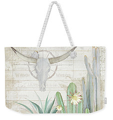 Weekender Tote Bag featuring the painting Old West Cactus Garden W Longhorn Cow Skull N Succulents Over Wood by Audrey Jeanne Roberts