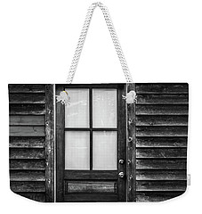 Old Wood Door And Light Black And White Weekender Tote Bag by Terry DeLuco