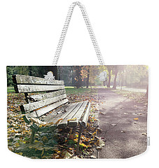 Rustic Wooden Bench During Late Autumn Season On Bright Day Weekender Tote Bag